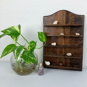 VINTAGE Dark Wood Thimble Display Hanging Shelf